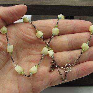 "Jewelry - 16"" Sterling Rustic Stone Topaz & Peridot Necklace"